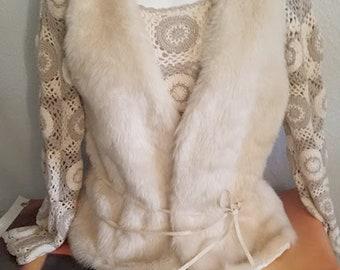 Lush Retro Faux Fur Vest With Ulta-Suede Tie
