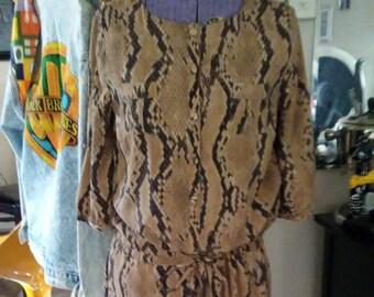 Vintage 80's Faux Silk-Polyester Animal Print Dress-Top-Lounger