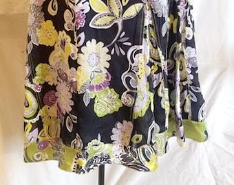 Vintage Silk Floral Panel Skirt