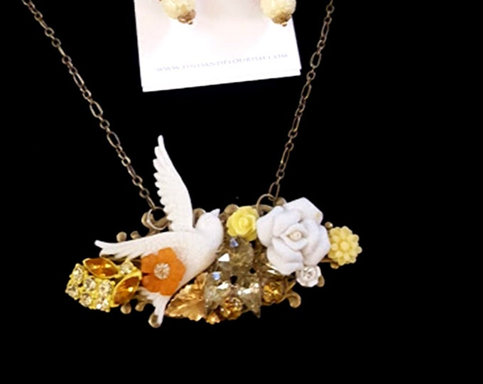 4 Pc. Handmade Recycled Vintage Jewelry Set, Earrings, Necklace & Ring