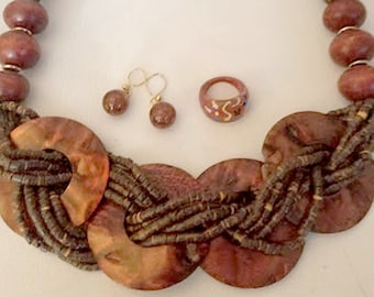 Vintage 4 Piece Tribal Set, Shell Necklace, Glass Amber Earrings, Ring