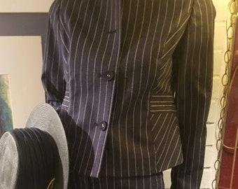 Vintage 90's Liz Claiborne Navy Pin-Striped Sassy Suit