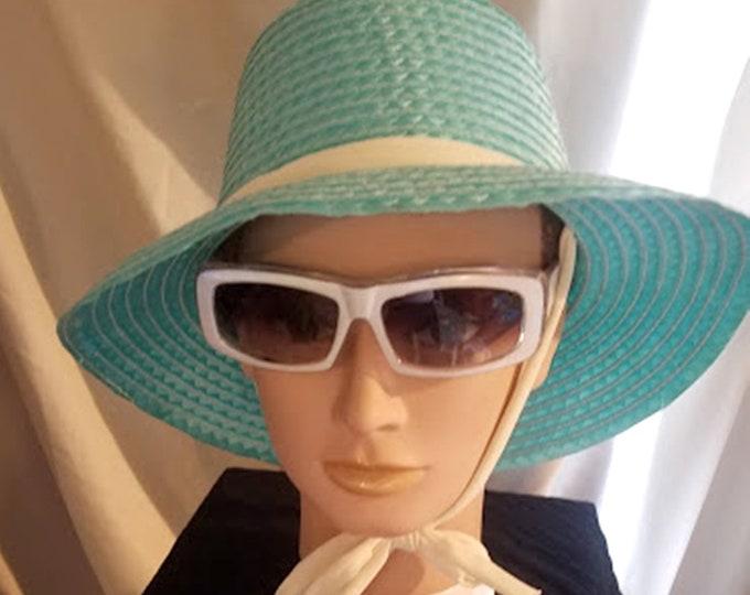 Vintage Turquoise Straw Sun Hat