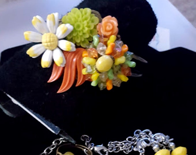 5 Piece Set! Handcrafted Recycled Vintage Bracelet, Ring, 70's Triple-Strand & Earrings