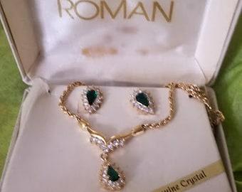 Vintage 70's ROMAN Boxed 3 Piece Set- Crystal Emeralds & Gold