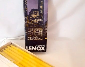 Vintage 70's LENOX Hand-Dipped Tiny Taper Candles in Lemon