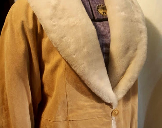 Warmest Puffy Suede Leather Coat in Butterscotch