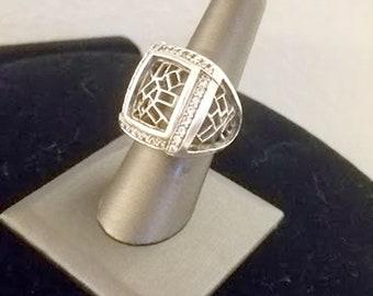 Vintage Modernist 925 Sterling Silver Ring
