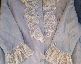 Vintage Powder Blue Quilted & Lace Robe