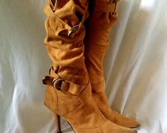 Vintage 90's Mustard-Yellow Ultra-Suede Fabric Scrunch Boots