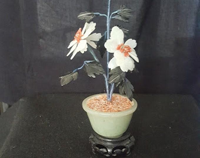 Miniature Glass Jade Tree with Base