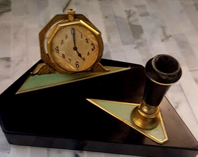 Elgin Art Deco Clock & Pen Holder