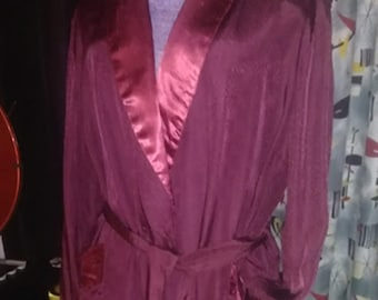 Vintage Deep Wine Silk & Satin Robe
