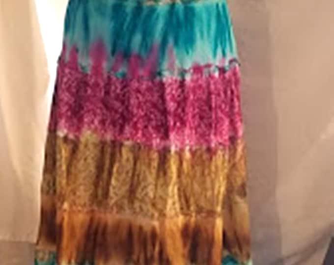 Vintage Batik Layered Cotton Maxi Skirt from India