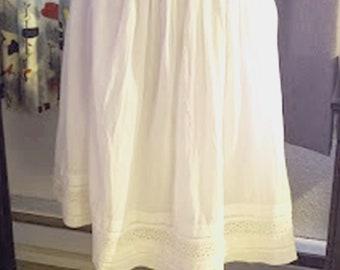 Vintage Indigo White Cotton Skirt