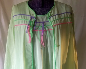 Vintage 70's 2 Piece Rainbow Robe and Nightie