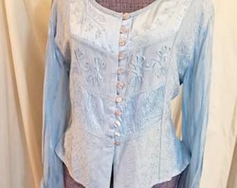 Vintage 90's Baby Blue Cotton Fancy Applique Top