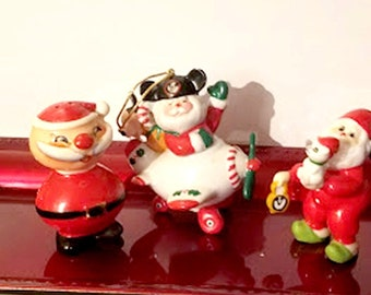 Vintage Santa Trio with Walt Disney Prod Ornament