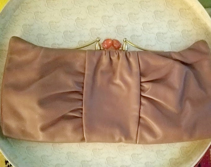 Mod Vintage 50's Leather Clutch with Brass & Bakelite Clasp