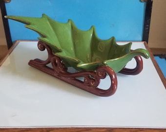 Vintage Ceramic Holly Sleigh Candy Dish