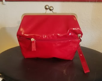 Vintage Red Patent Leather Folding Clutch Purse