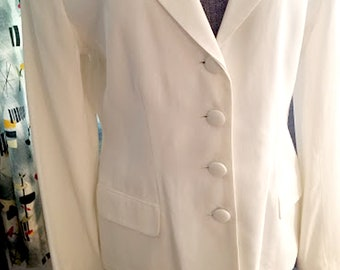 Vintage 90's Chic White Rayon Jacket