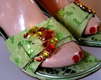 Vintage Italian VIGOTTI Jeweled Buckle, Green Leather Mules