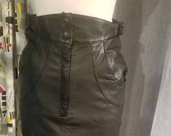 Fabulous Vintage Side Buckle High-Waist Leather Skirt