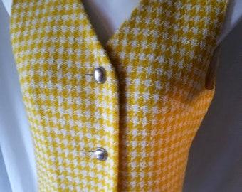 Vintage 80's Howard Wolf Yellow Wool Twead Vest