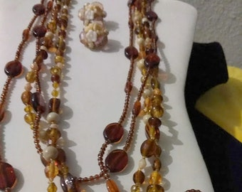 Long Beaded Vintage Necklaces & Earring Set