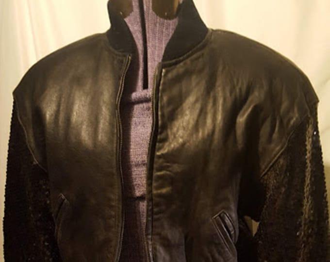 Sequins & Leather! 80's Luis Alvear Leather Bomber Jacket