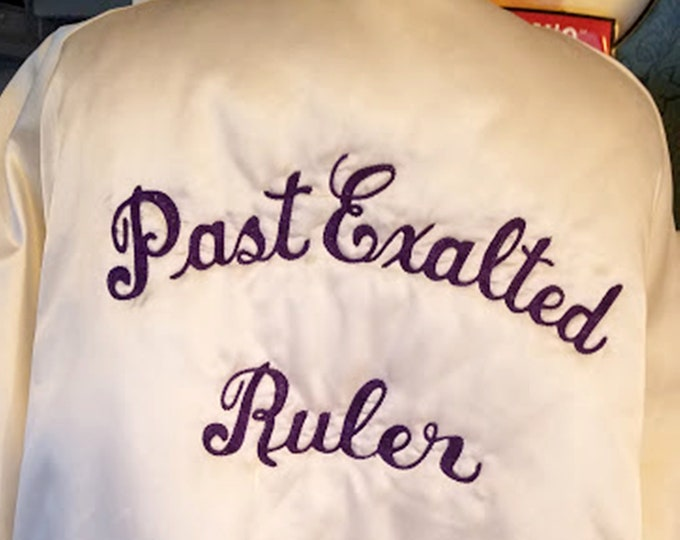 Vintage 90's Elk BPOE Exulted Ruler White Satin Bomber Jacket