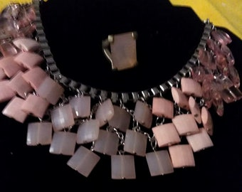 Vintage 80's Pink Layered Mod Egyptian Necklace and Ring