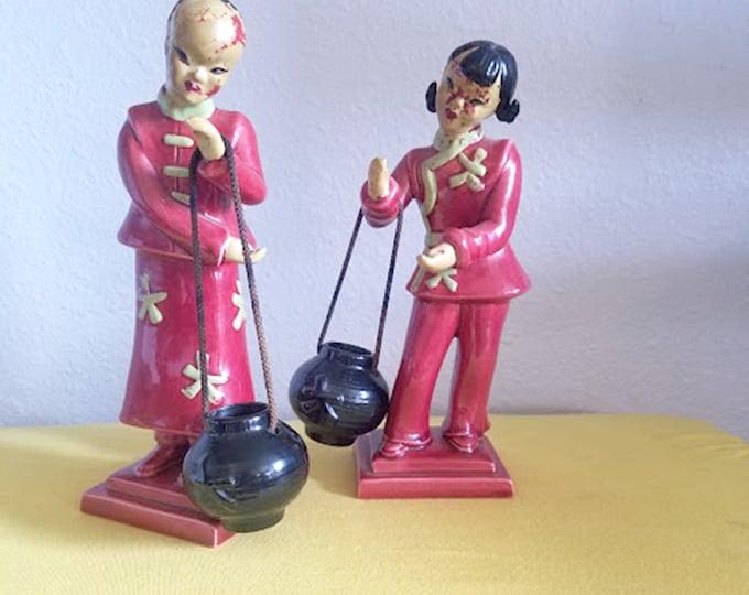 Vintage Set of Signed YONA Japanese Figurines