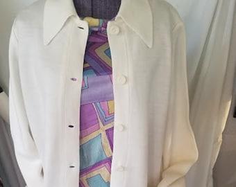 Vintage 70's LeRoy Knitwear White Cardigan - Never Worn