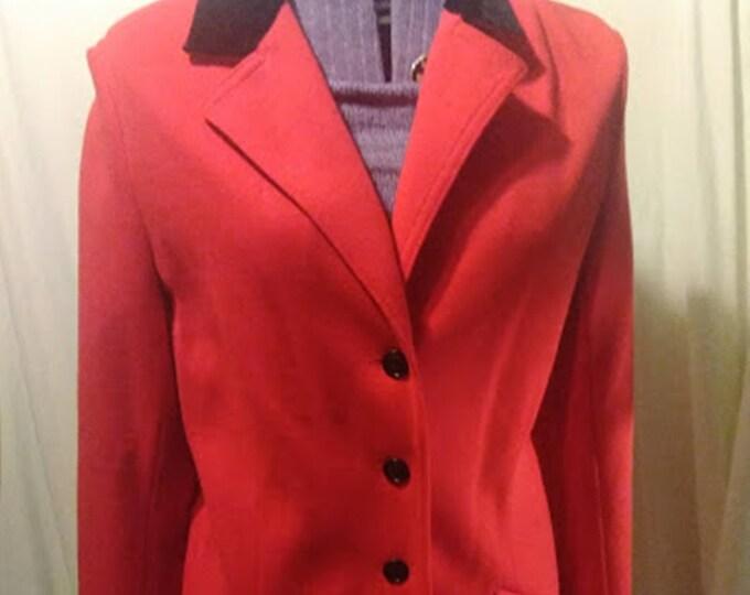 Vintage Butte Knit Red & Black Long Blazer