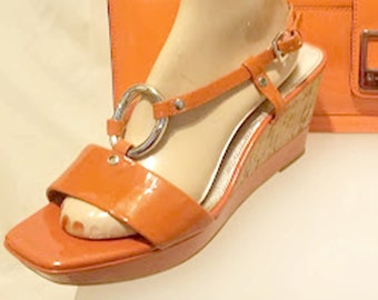 "Vintage Franco Sarto ""The Arts Collection"" Orange Patent Cork Wedges"