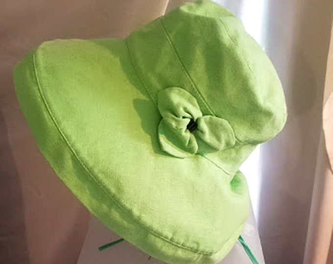 Vintage Lime Green Linen Sun Hat