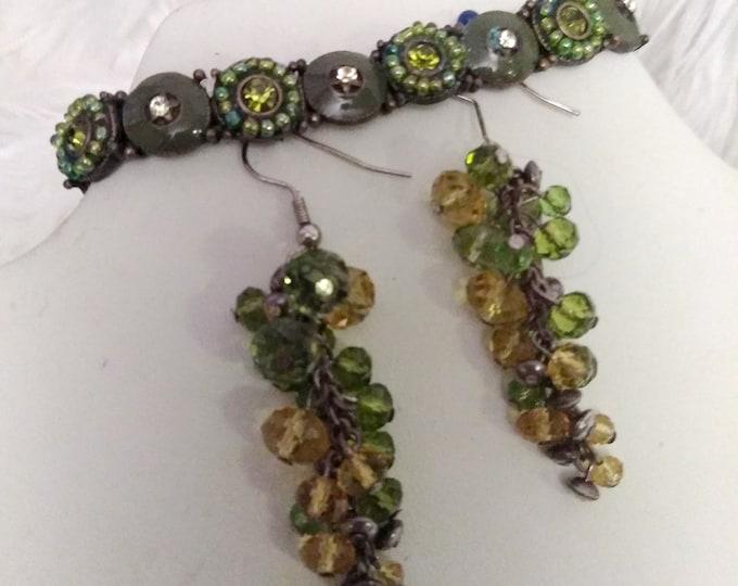 Green Enamel Bracelet, 1 Pair Earrings
