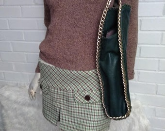 Forest Green Oversized Faux Leather Handbag with Gold Chain Accents