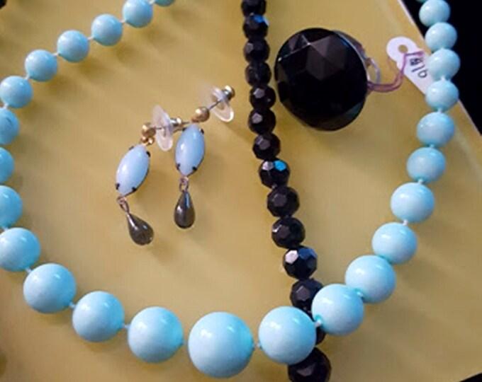 Recycled Vintage Jeweled 5 Pc. Set Turquoise & Black