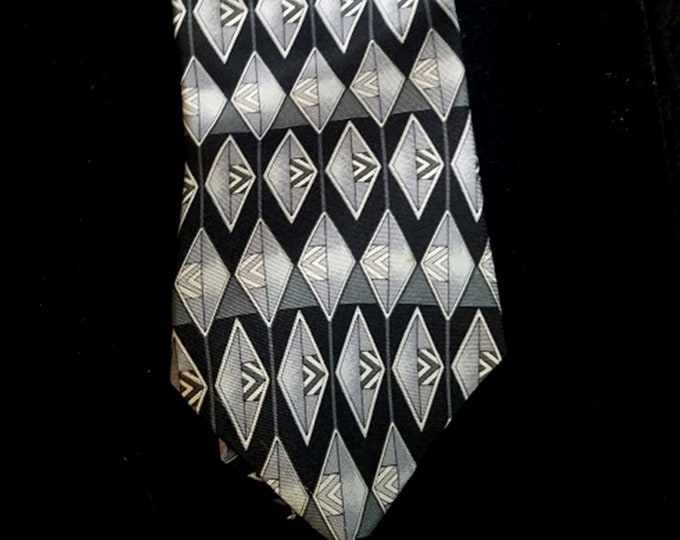 Vintage Silk and Wool Tie, Black & Silver
