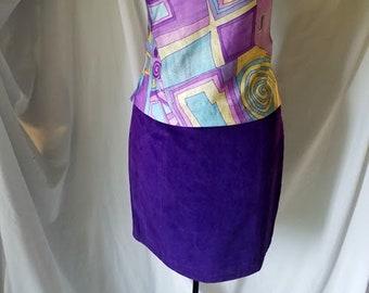Retro Purple Suede Pencil Skirt