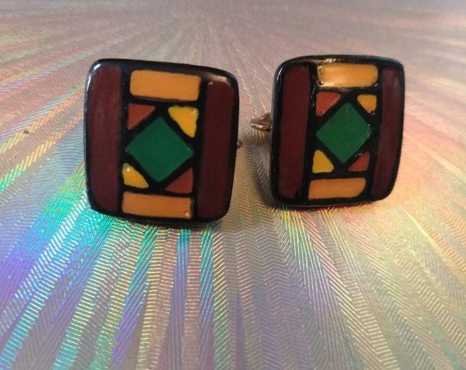 Signed Vintage Eisenberg Abstract Enamel Earrings