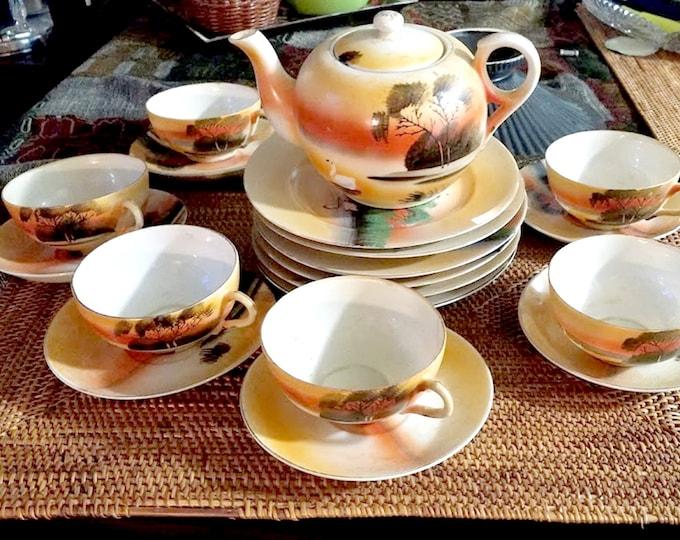 Vintage 20 Piece Japanese Island Sunset Desert & Tea Set