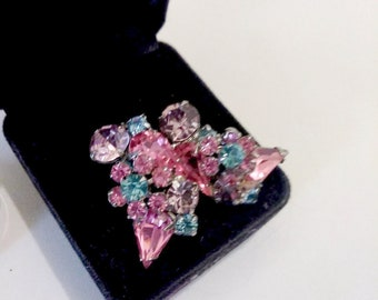 Vintage Multi-Colored Crystal Rhinestone Earrings