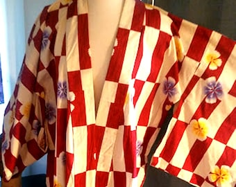 Vintage Japanese Floral Cotton Robe