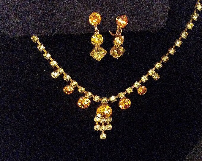 Vintage Rhinestone Choker & Earring Set in Amber