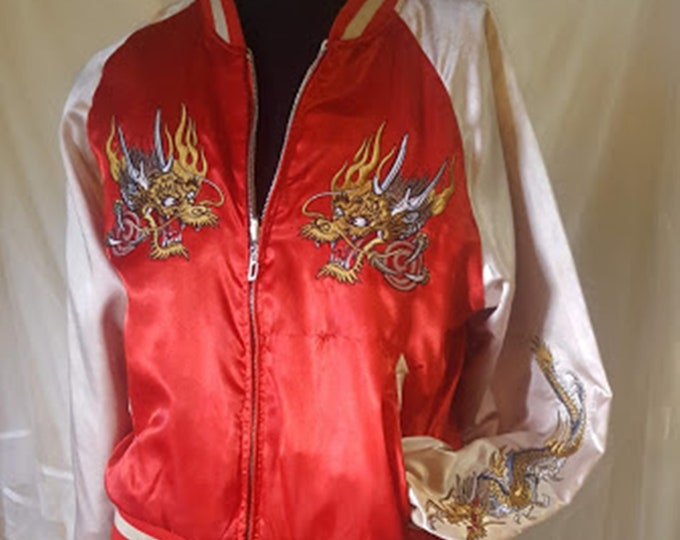 Reversable Satin Jacket with Embroidered Dragons
