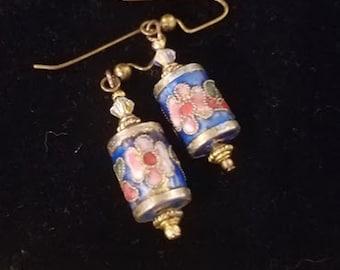 Vintage Cloisonne Ornamental Lamp Earrings